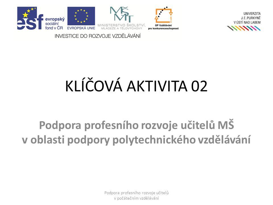 KLÍČOVÁ AKTIVITA 02 Podpora profesního rozvoje učitelů MŠ v oblasti podpory polytechnického vzdělávání Podpora profesního rozvoje učitelů v počátečním vzdělávání
