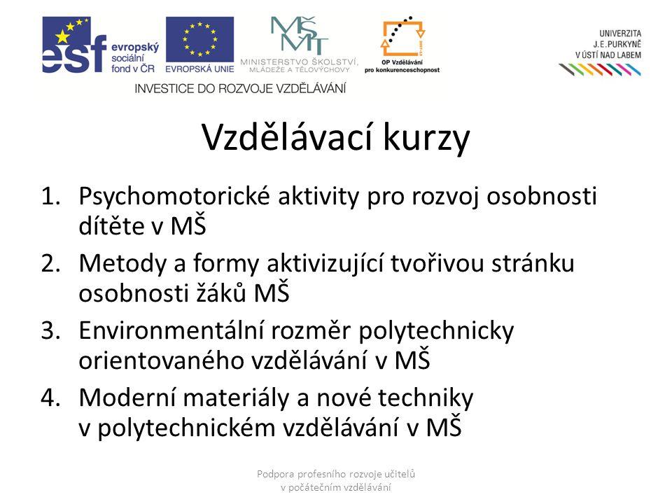 Psychomotorické aktivity pro rozvoj osobnosti dítěte v MŠ Podpora profesního rozvoje učitelů v počátečním vzdělávání Mgr.