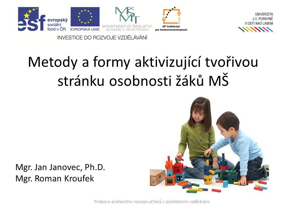 Metody a formy aktivizující tvořivou stránku osobnosti žáků MŠ Podpora profesního rozvoje učitelů v počátečním vzdělávání Mgr.