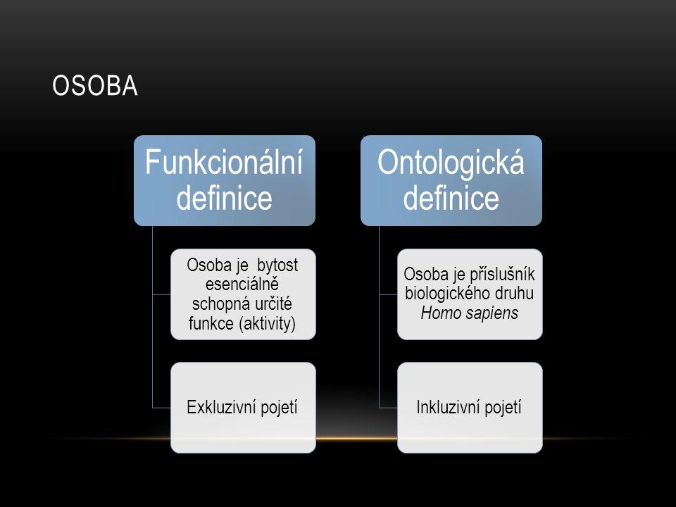 OSOBA Funkcionální definice Osoba je bytost esenciálně schopná určité funkce (aktivity) Exkluzivní pojetí Ontologická definice Osoba je příslušník bio