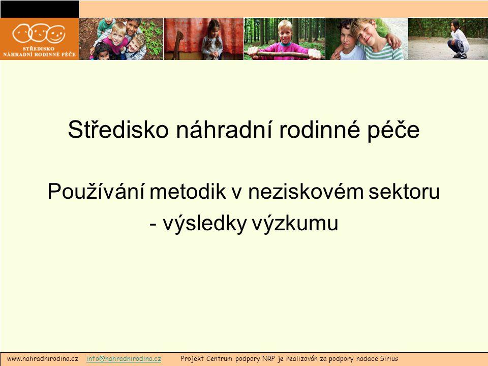 Středisko náhradní rodinné péče Používání metodik v neziskovém sektoru - výsledky výzkumu www.nahradnirodina.cz info@nahradnirodina.cz Projekt Centrum podpory NRP je realizován za podpory nadace Siriusinfo@nahradnirodina.cz