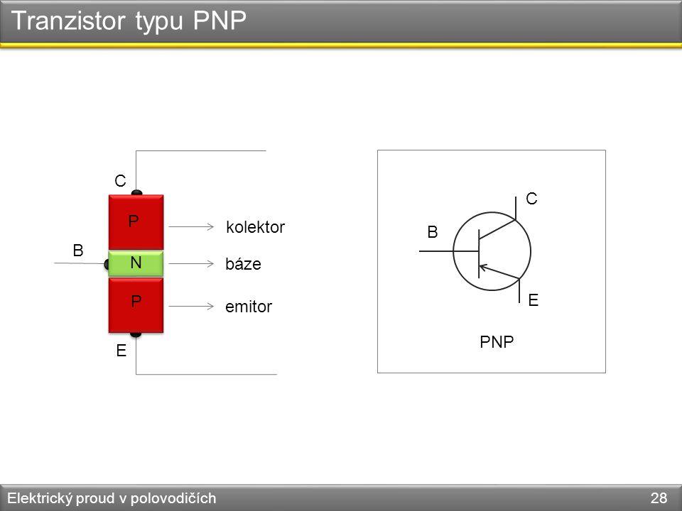 Tranzistor typu PNP Elektrický proud v polovodičích 28 P P N B C E PNP B C E kolektor báze emitor