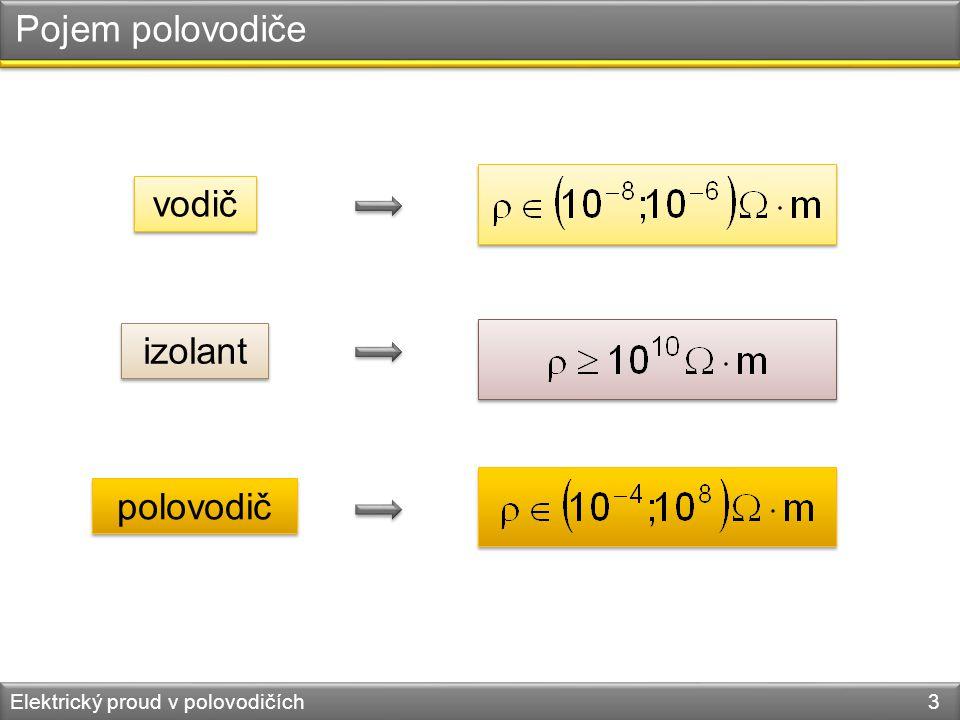 Pojem polovodiče Elektrický proud v polovodičích 3 vodič izolant polovodič