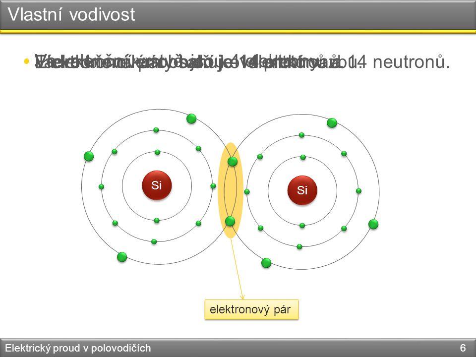 Vlastní vodivost Elektrický proud v polovodičích 6 Si elektronový pár • Jádro křemíku obsahuje 14 protonů a 14 neutronů. • Ve valenční vrstvě jsou 4 e