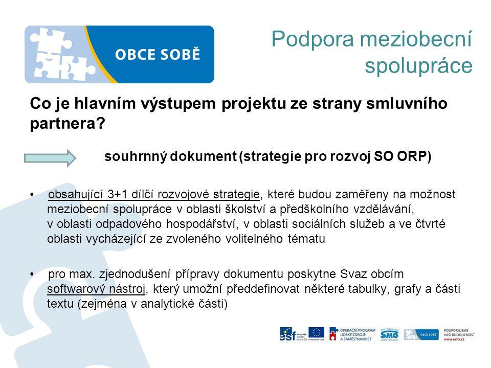 Co je hlavním výstupem projektu ze strany smluvního partnera? souhrnný dokument (strategie pro rozvoj SO ORP) •obsahující 3+1 dílčí rozvojové strategi