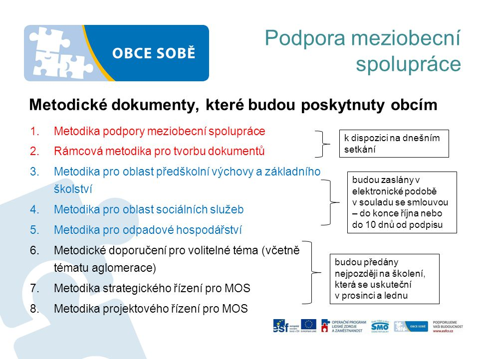 Metodické dokumenty, které budou poskytnuty obcím 1.Metodika podpory meziobecní spolupráce 2.Rámcová metodika pro tvorbu dokumentů 3.Metodika pro obla