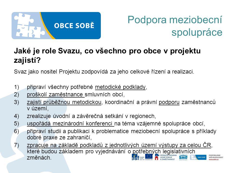 Podpora meziobecní spolupráce Svaz jako nositel Projektu zodpovídá za jeho celkové řízení a realizaci. 1)připraví všechny potřebné metodické podklady,