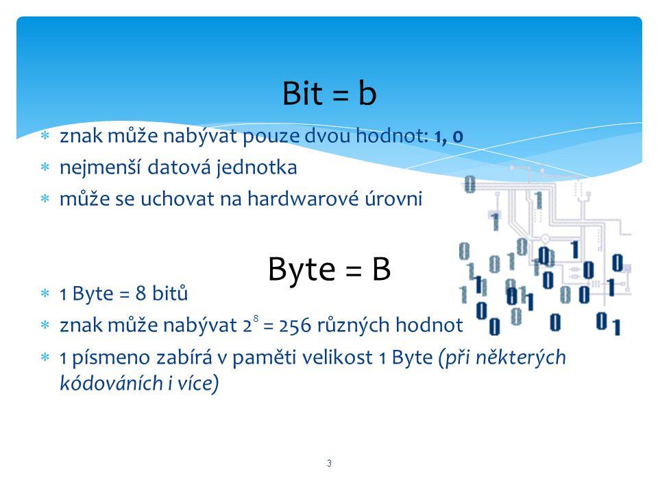  znak může nabývat pouze dvou hodnot: 1, 0  nejmenší datová jednotka  může se uchovat na hardwarové úrovni  1 Byte = 8 bitů  znak může nabývat 2