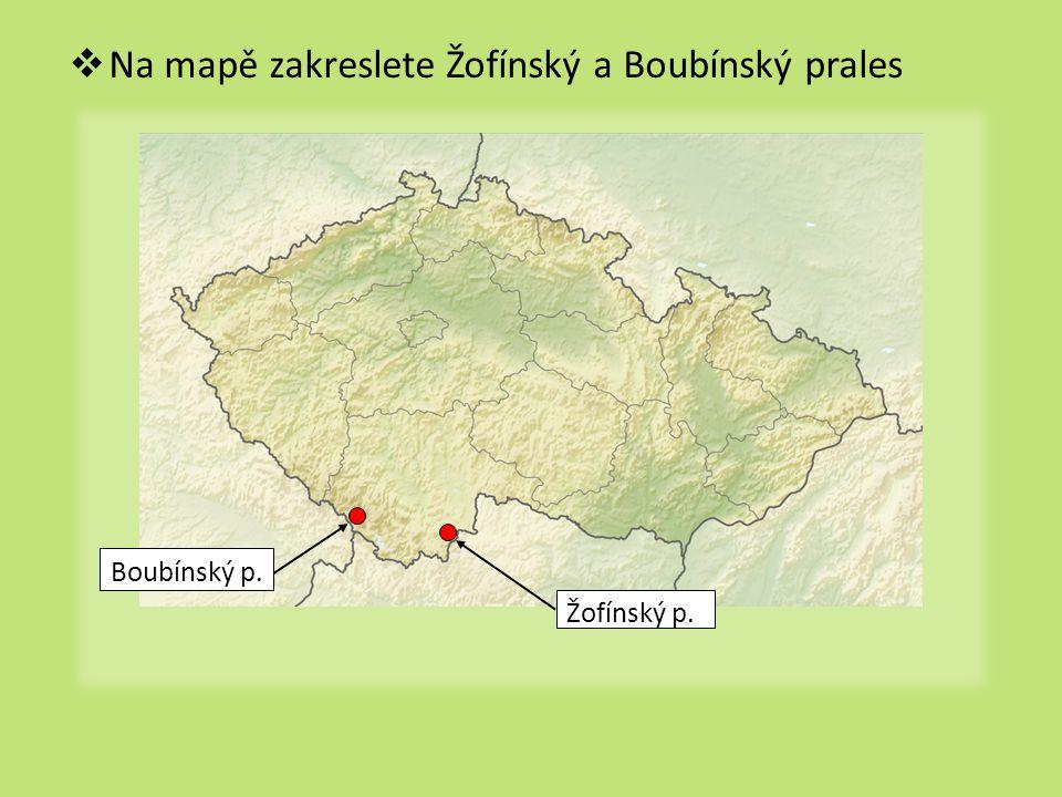  Na mapě zakreslete Žofínský a Boubínský prales Boubínský p. Žofínský p.