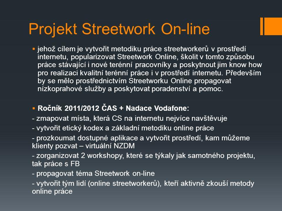 Projekt Streetwork On-line  jehož cílem je vytvořit metodiku práce streetworkerů v prostředí internetu, popularizovat Streetwork Online, školit v tom
