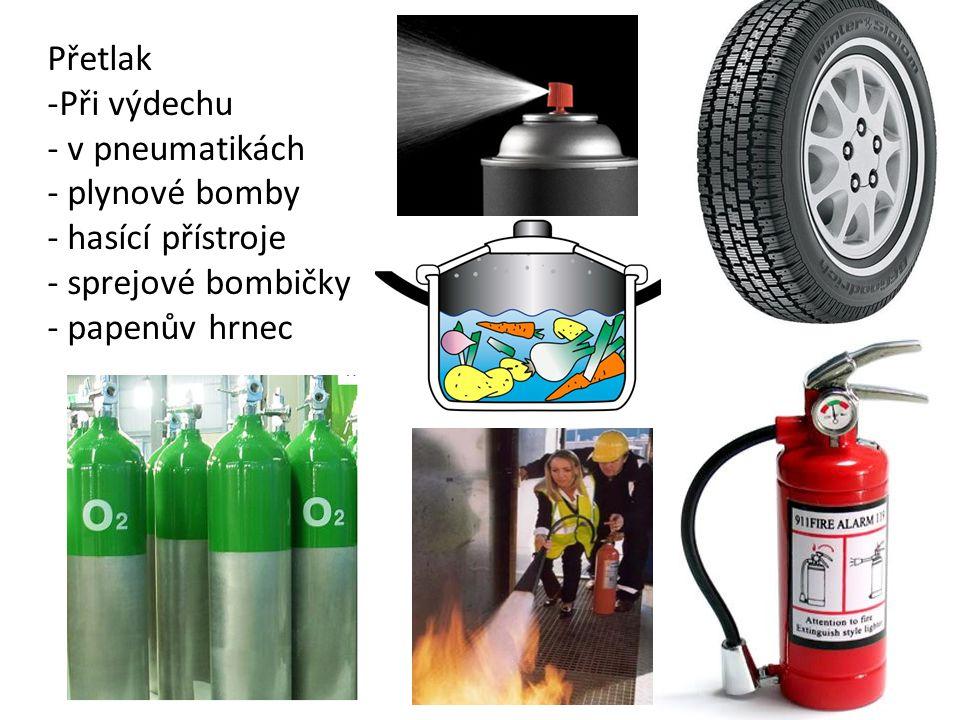 Přetlak -Při výdechu - v pneumatikách - plynové bomby - hasící přístroje - sprejové bombičky - papenův hrnec