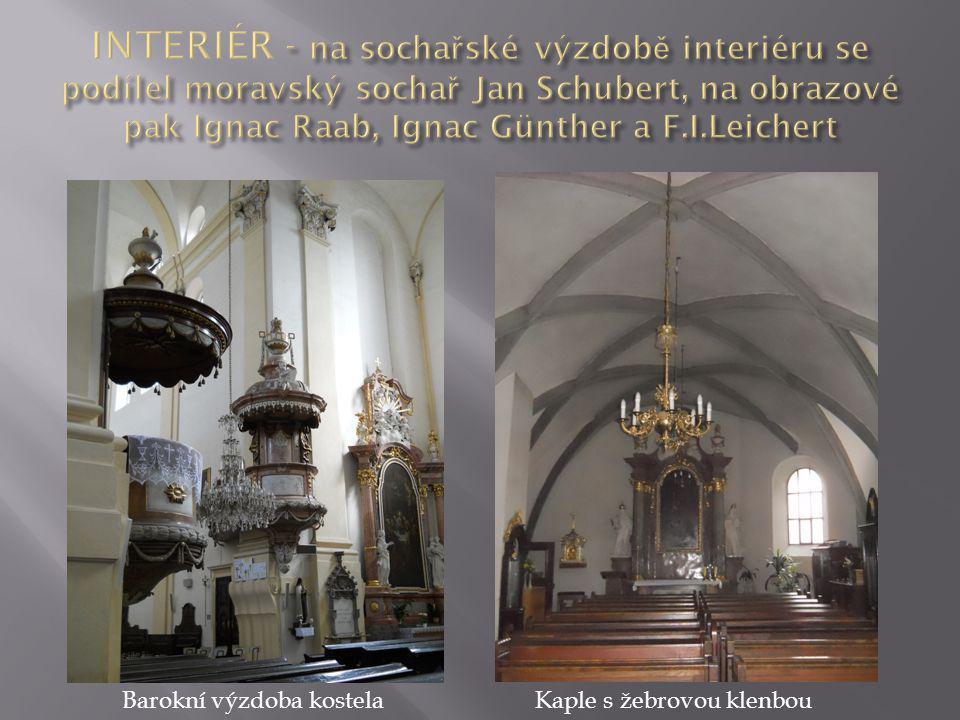 Barokní výzdoba kostelaKaple s žebrovou klenbou