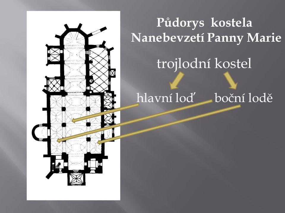 Půdorys kostela Nanebevzetí Panny Marie hlavní loďboční lodě trojlodní kostel