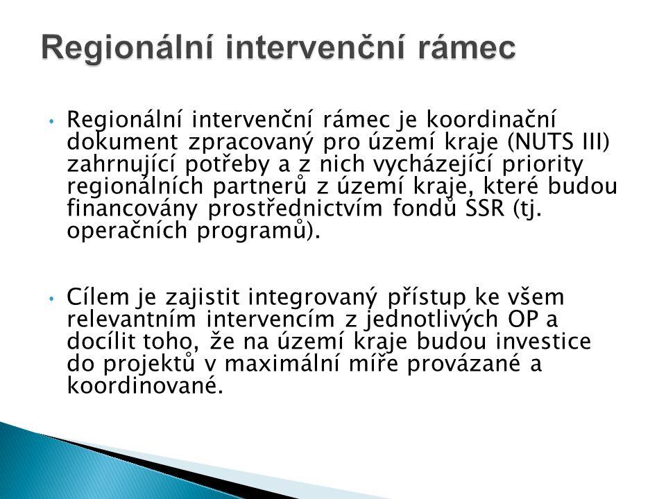 • Regionální intervenční rámec je koordinační dokument zpracovaný pro území kraje (NUTS III) zahrnující potřeby a z nich vycházející priority regionál