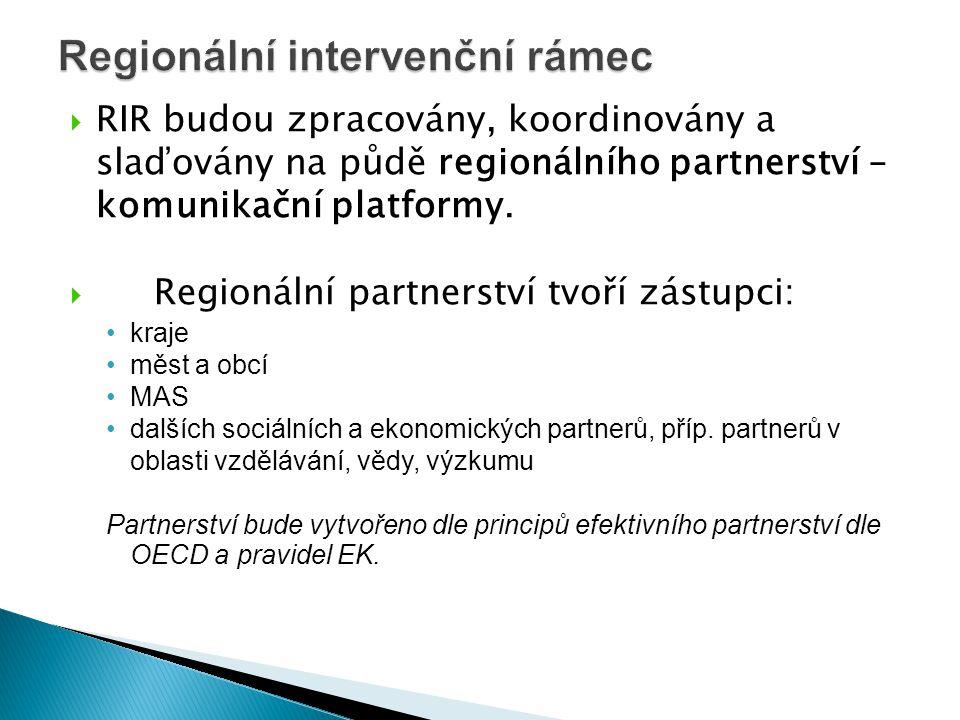  RIR budou zpracovány, koordinovány a slaďovány na půdě regionálního partnerství – komunikační platformy.  Regionální partnerství tvoří zástupci: •k