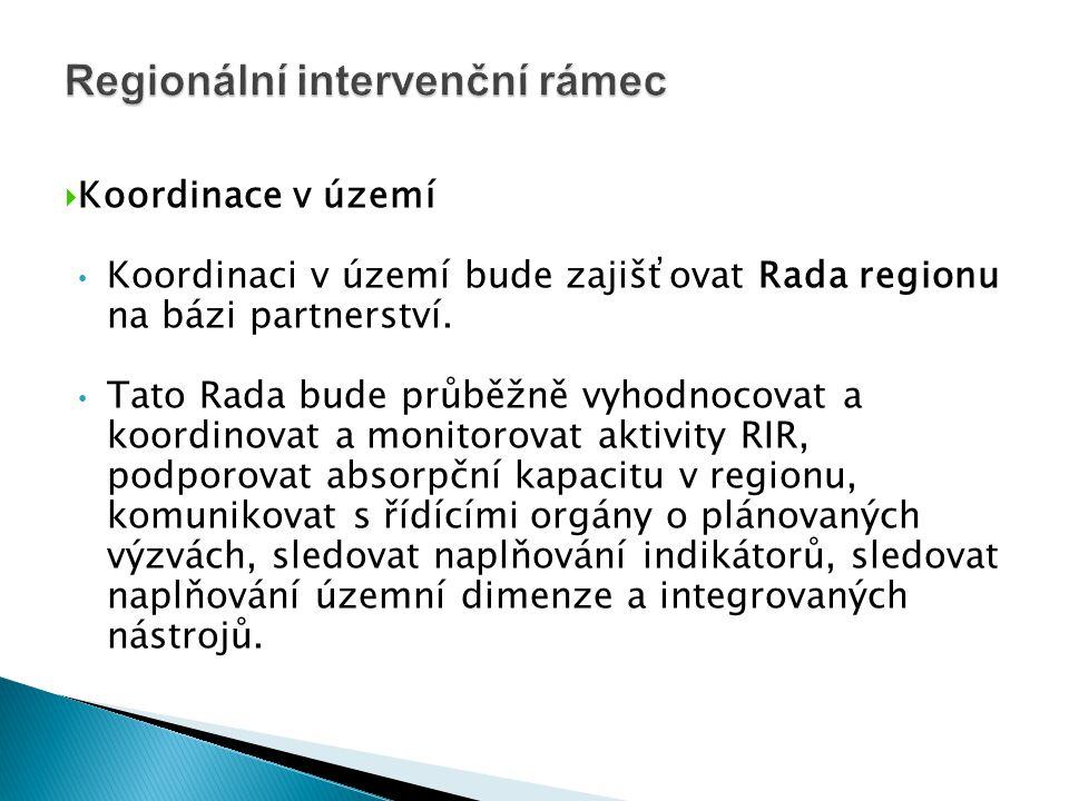  Koordinace v území • Koordinaci v území bude zajišťovat Rada regionu na bázi partnerství. • Tato Rada bude průběžně vyhodnocovat a koordinovat a mon