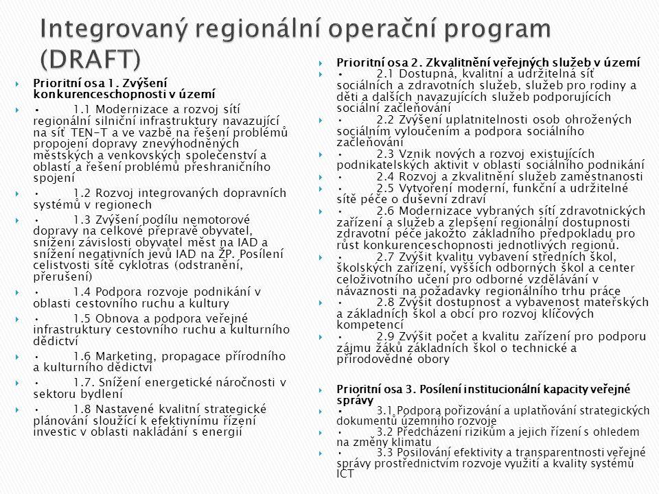  Prioritní osa 1. Zvýšení konkurenceschopnosti v území  •1.1 Modernizace a rozvoj sítí regionální silniční infrastruktury navazující na síť TEN-T a
