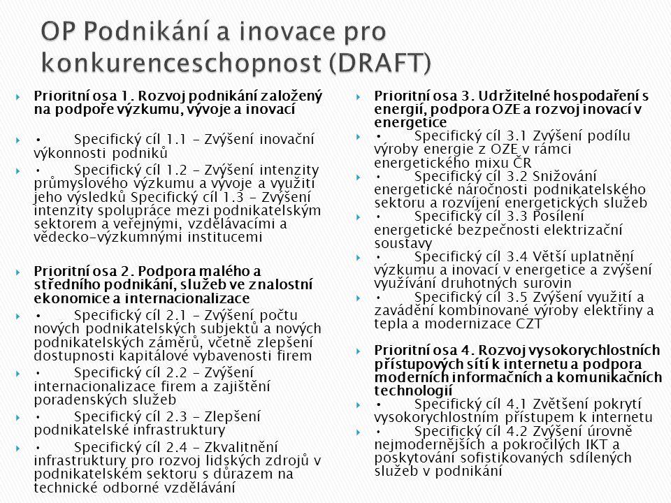  Prioritní osa 1. Rozvoj podnikání založený na podpoře výzkumu, vývoje a inovací  •Specifický cíl 1.1 - Zvýšení inovační výkonnosti podniků  •Speci
