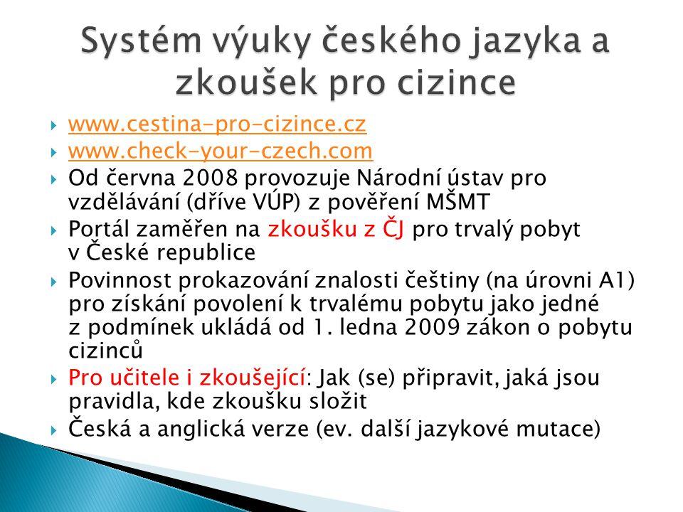  www.cestina-pro-cizince.cz www.cestina-pro-cizince.cz  www.check-your-czech.com www.check-your-czech.com  Od června 2008 provozuje Národní ústav p