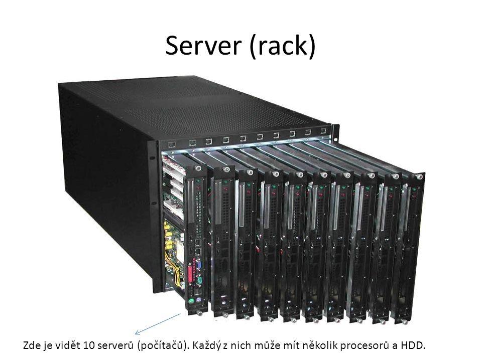 Server (rack) Zde je vidět 10 serverů (počítačů). Každý z nich může mít několik procesorů a HDD.