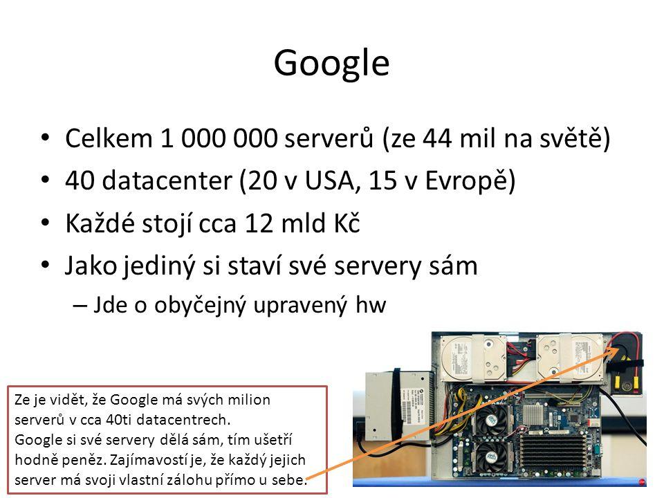 Google • Celkem 1 000 000 serverů (ze 44 mil na světě) • 40 datacenter (20 v USA, 15 v Evropě) • Každé stojí cca 12 mld Kč • Jako jediný si staví své servery sám – Jde o obyčejný upravený hw Ze je vidět, že Google má svých milion serverů v cca 40ti datacentrech.