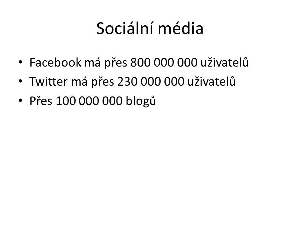 Sociální média • Facebook má přes 800 000 000 uživatelů • Twitter má přes 230 000 000 uživatelů • Přes 100 000 000 blogů