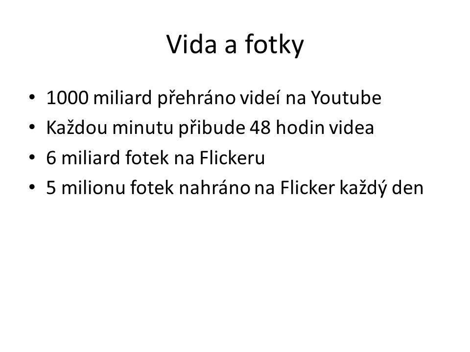 Vida a fotky • 1000 miliard přehráno videí na Youtube • Každou minutu přibude 48 hodin videa • 6 miliard fotek na Flickeru • 5 milionu fotek nahráno n