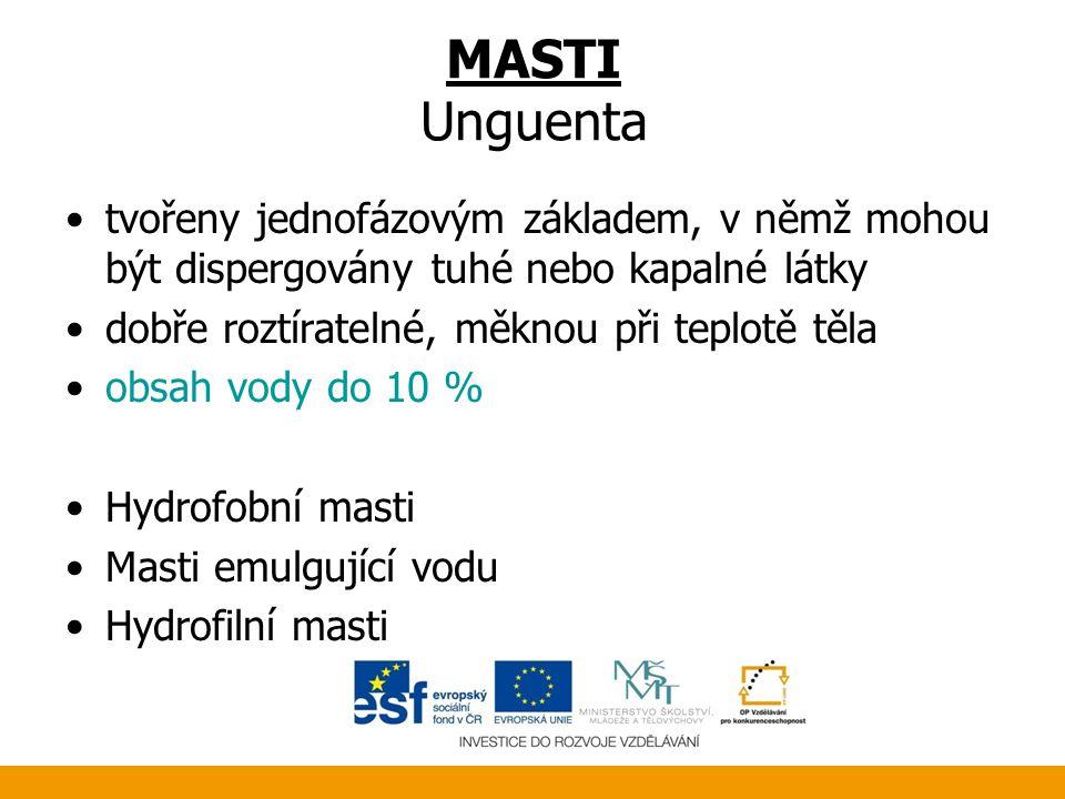 MASTI Unguenta •tvořeny jednofázovým základem, v němž mohou být dispergovány tuhé nebo kapalné látky •dobře roztíratelné, měknou při teplotě těla •obs