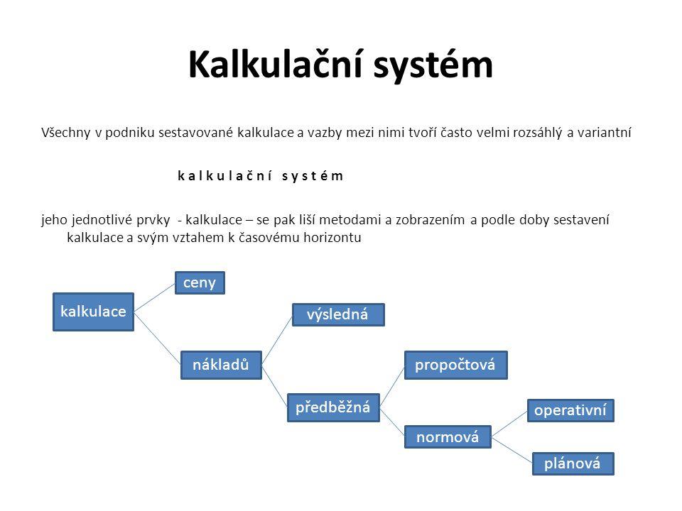 Kalkulační systém Všechny v podniku sestavované kalkulace a vazby mezi nimi tvoří často velmi rozsáhlý a variantní k a l k u l a č n í s y s t é m jeh