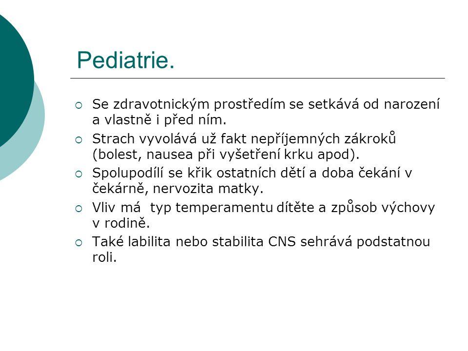 Pediatrie.  Se zdravotnickým prostředím se setkává od narození a vlastně i před ním.  Strach vyvolává už fakt nepříjemných zákroků (bolest, nausea p