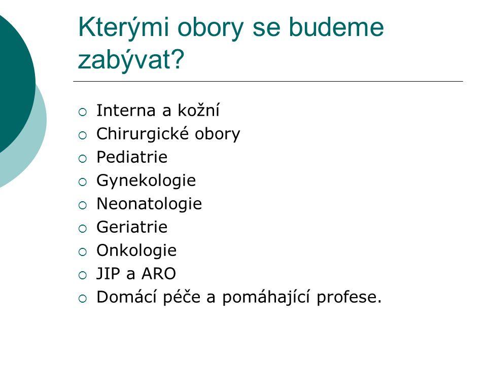 Kterými obory se budeme zabývat?  Interna a kožní  Chirurgické obory  Pediatrie  Gynekologie  Neonatologie  Geriatrie  Onkologie  JIP a ARO 