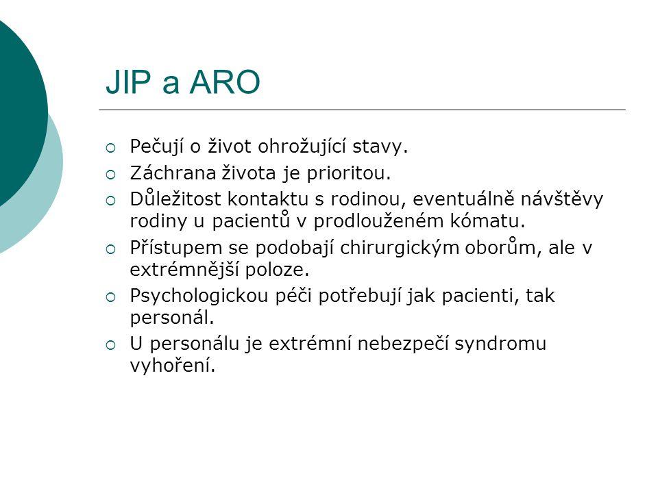 JIP a ARO  Pečují o život ohrožující stavy.  Záchrana života je prioritou.  Důležitost kontaktu s rodinou, eventuálně návštěvy rodiny u pacientů v