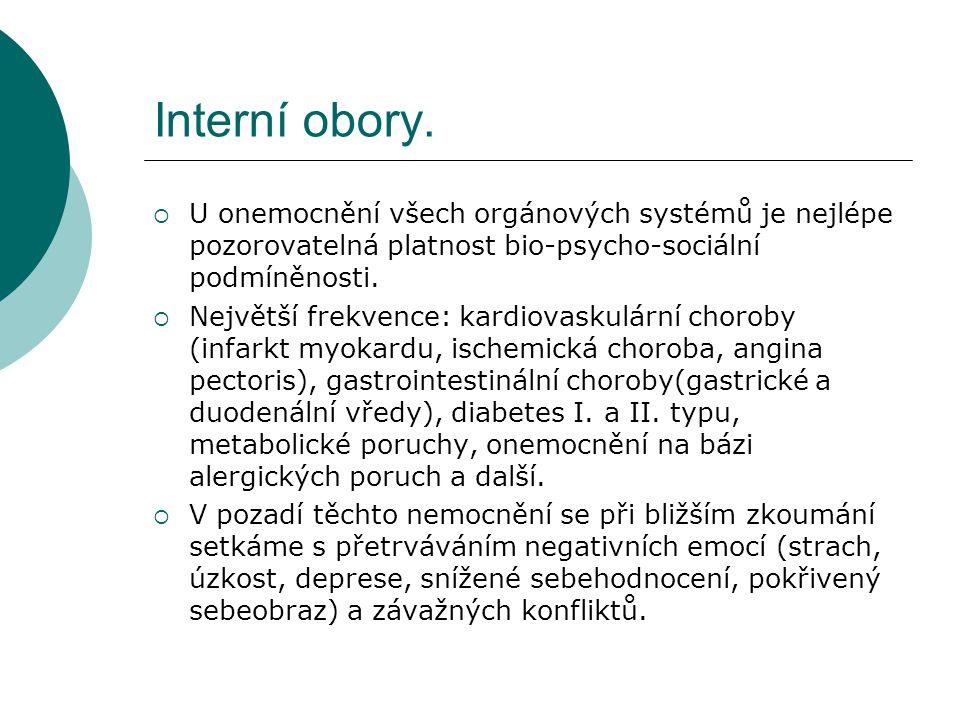Interní obory.  U onemocnění všech orgánových systémů je nejlépe pozorovatelná platnost bio-psycho-sociální podmíněnosti.  Největší frekvence: kardi
