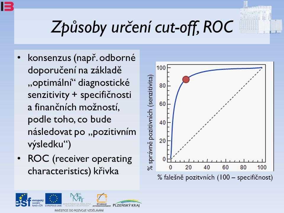 """Způsoby určení cut-off, ROC • konsenzus (např. odborné doporučení na základě """"optimální"""" diagnostické senzitivity + specifičnosti a finančních možnost"""