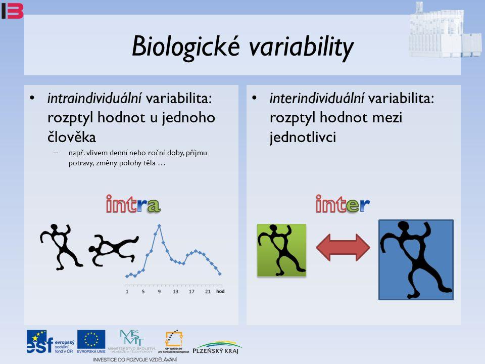 Biologické variability • intraindividuální variabilita: rozptyl hodnot u jednoho člověka – např. vlivem denní nebo roční doby, příjmu potravy, změny p