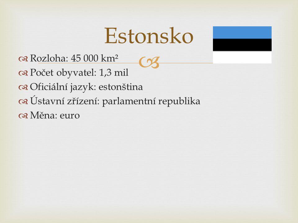   Rozloha: 45 000 km²  Počet obyvatel: 1,3 mil  Oficiální jazyk: estonština  Ústavní zřízení: parlamentní republika  Měna: euro Estonsko