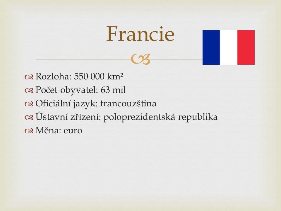   Rozloha: 550 000 km²  Počet obyvatel: 63 mil  Oficiální jazyk: francouzština  Ústavní zřízení: poloprezidentská republika  Měna: euro Francie