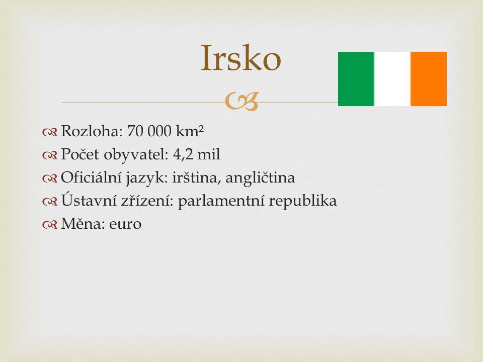   Rozloha: 70 000 km²  Počet obyvatel: 4,2 mil  Oficiální jazyk: irština, angličtina  Ústavní zřízení: parlamentní republika  Měna: euro Irsko