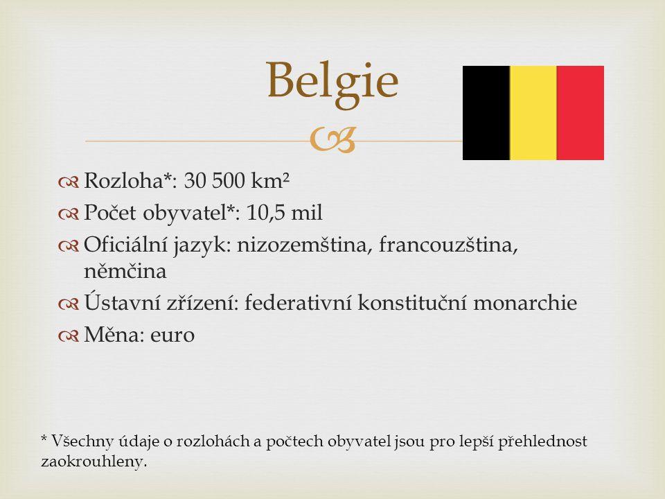   Rozloha*: 30 500 km²  Počet obyvatel*: 10,5 mil  Oficiální jazyk: nizozemština, francouzština, němčina  Ústavní zřízení: federativní konstitučn