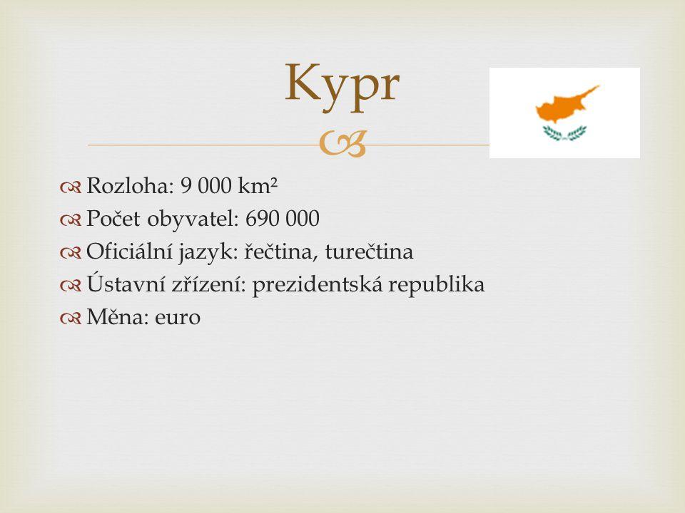   Rozloha: 9 000 km²  Počet obyvatel: 690 000  Oficiální jazyk: řečtina, turečtina  Ústavní zřízení: prezidentská republika  Měna: euro Kypr