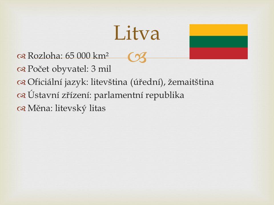   Rozloha: 65 000 km²  Počet obyvatel: 3 mil  Oficiální jazyk: litevština (úřední), žemaitština  Ústavní zřízení: parlamentní republika  Měna: l