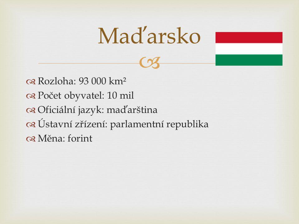   Rozloha: 93 000 km²  Počet obyvatel: 10 mil  Oficiální jazyk: maďarština  Ústavní zřízení: parlamentní republika  Měna: forint Maďarsko