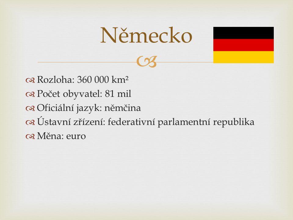   Rozloha: 360 000 km²  Počet obyvatel: 81 mil  Oficiální jazyk: němčina  Ústavní zřízení: federativní parlamentní republika  Měna: euro Německo