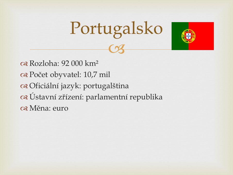   Rozloha: 92 000 km²  Počet obyvatel: 10,7 mil  Oficiální jazyk: portugalština  Ústavní zřízení: parlamentní republika  Měna: euro Portugalsko