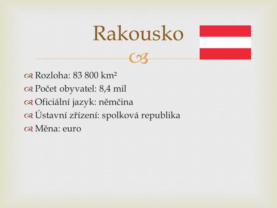   Rozloha: 83 800 km²  Počet obyvatel: 8,4 mil  Oficiální jazyk: němčina  Ústavní zřízení: spolková republika  Měna: euro Rakousko