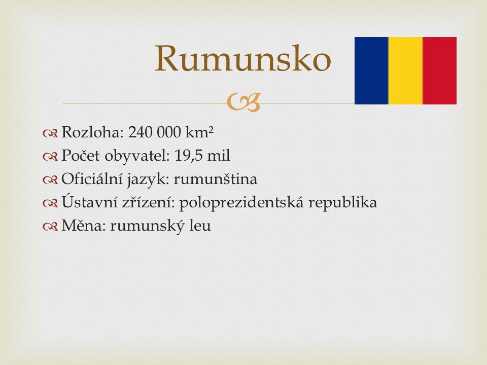   Rozloha: 240 000 km²  Počet obyvatel: 19,5 mil  Oficiální jazyk: rumunština  Ústavní zřízení: poloprezidentská republika  Měna: rumunský leu R