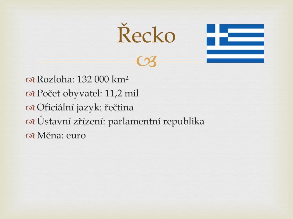   Rozloha: 132 000 km²  Počet obyvatel: 11,2 mil  Oficiální jazyk: řečtina  Ústavní zřízení: parlamentní republika  Měna: euro Řecko