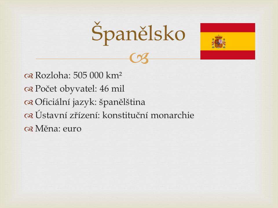   Rozloha: 505 000 km²  Počet obyvatel: 46 mil  Oficiální jazyk: španělština  Ústavní zřízení: konstituční monarchie  Měna: euro Španělsko