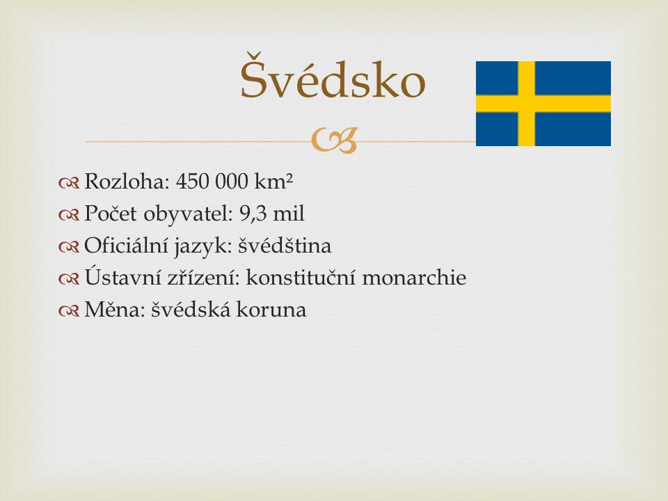   Rozloha: 450 000 km²  Počet obyvatel: 9,3 mil  Oficiální jazyk: švédština  Ústavní zřízení: konstituční monarchie  Měna: švédská koruna Švédsk
