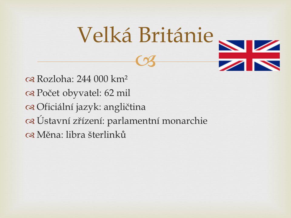   Rozloha: 244 000 km²  Počet obyvatel: 62 mil  Oficiální jazyk: angličtina  Ústavní zřízení: parlamentní monarchie  Měna: libra šterlinků Velká